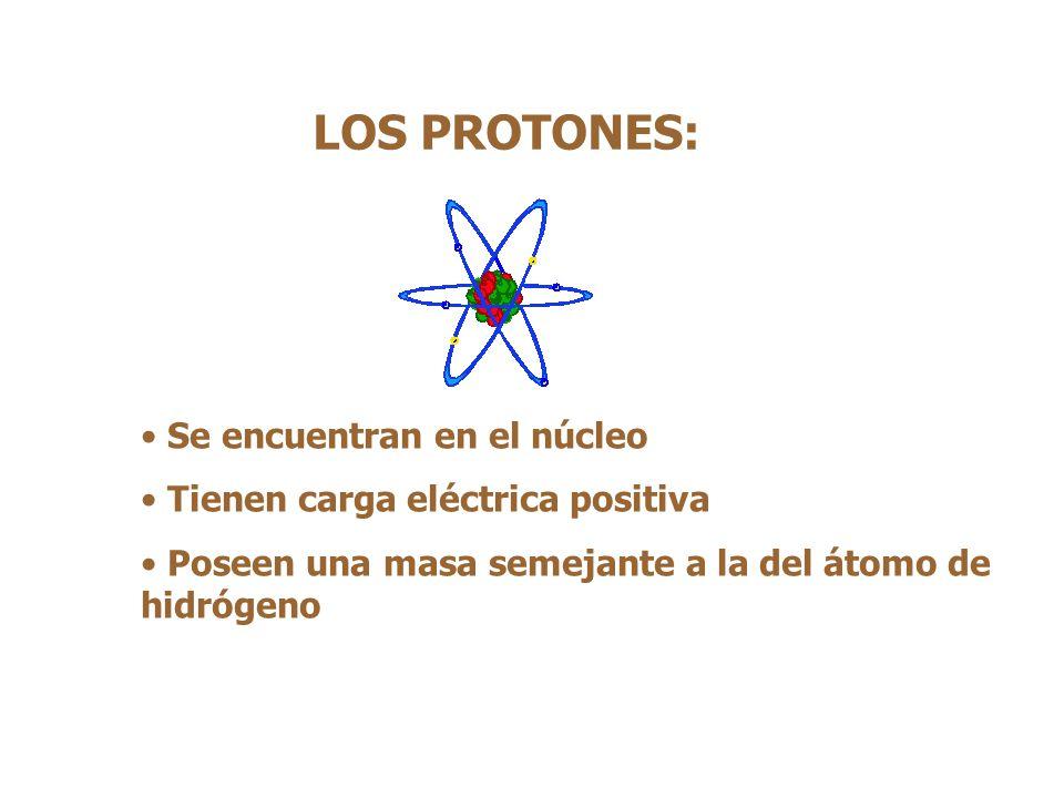 LOS PROTONES: Se encuentran en el núcleo Tienen carga eléctrica positiva Poseen una masa semejante a la del átomo de hidrógeno