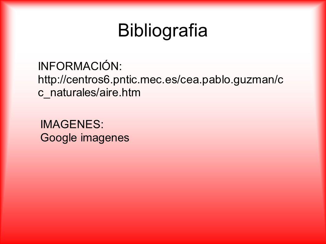 Bibliografia INFORMACIÓN: http://centros6.pntic.mec.es/cea.pablo.guzman/c c_naturales/aire.htm IMAGENES: Google imagenes