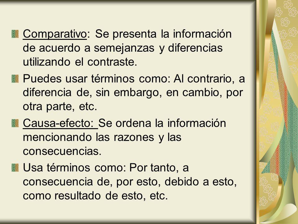 Comparativo: Se presenta la información de acuerdo a semejanzas y diferencias utilizando el contraste. Puedes usar términos como: Al contrario, a dife