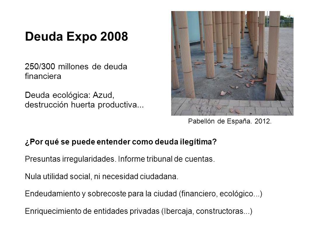 Deuda Expo 2008 250/300 millones de deuda financiera Deuda ecológica: Azud, destrucción huerta productiva... ¿Por qué se puede entender como deuda ile