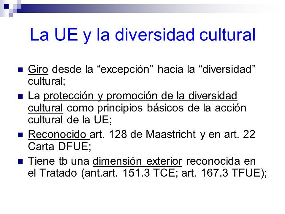 La UE y la diversidad cultural Giro desde la excepción hacia la diversidad cultural; La protección y promoción de la diversidad cultural como principios básicos de la acción cultural de la UE; Reconocido art.