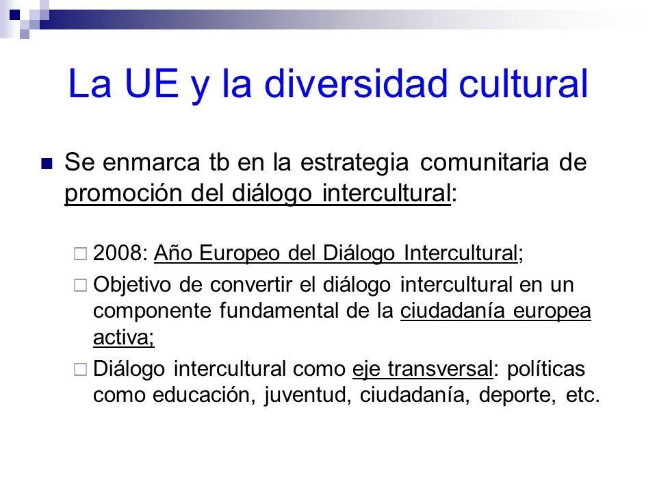 La UE y la diversidad cultural Se enmarca tb en la estrategia comunitaria de promoción del diálogo intercultural: 2008: Año Europeo del Diálogo Intercultural; Objetivo de convertir el diálogo intercultural en un componente fundamental de la ciudadanía europea activa; Diálogo intercultural como eje transversal: políticas como educación, juventud, ciudadanía, deporte, etc.