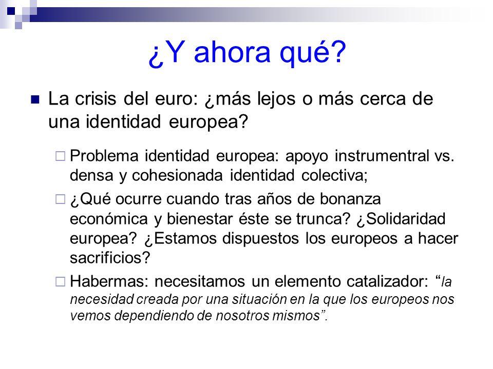 ¿Y ahora qué.La crisis del euro: ¿más lejos o más cerca de una identidad europea.