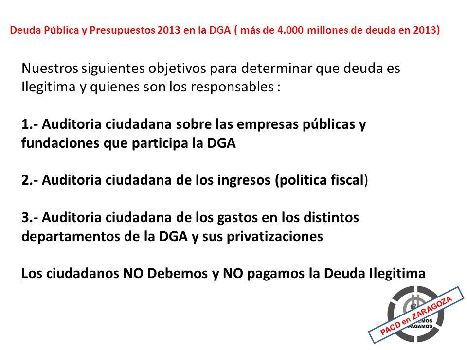 Esta previsto 4.121 millones de Deuda Pública en la DGA para el 2013, de estos se podrían considerar Deuda Ilegitima : 525 millones de intereses pagados de más entre 2010 y 2013 por no financiar el BCE la deuda pública de la DGA Responsables los partidos firmantes del reglamento BCE 105 millones profesores de Religión desde 1999 (7 por año) que estan las transferencias, por financiar este apartado siendo contrario a la constitución Responsables PSOE.