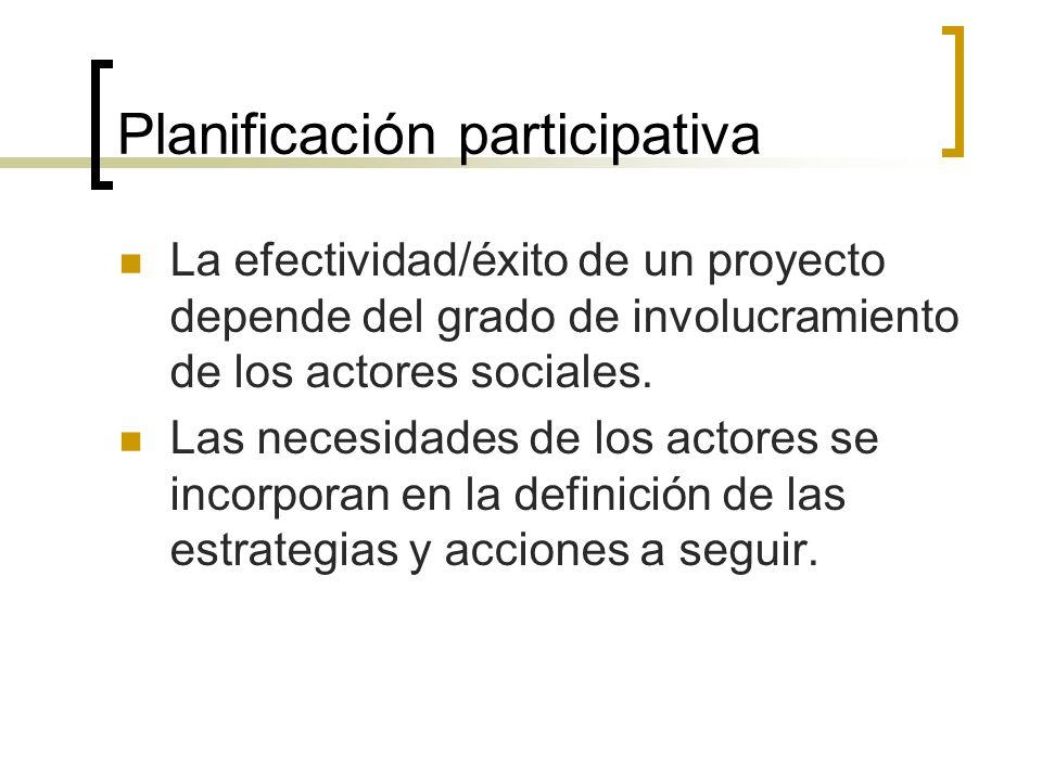Planificación participativa La efectividad/éxito de un proyecto depende del grado de involucramiento de los actores sociales. Las necesidades de los a