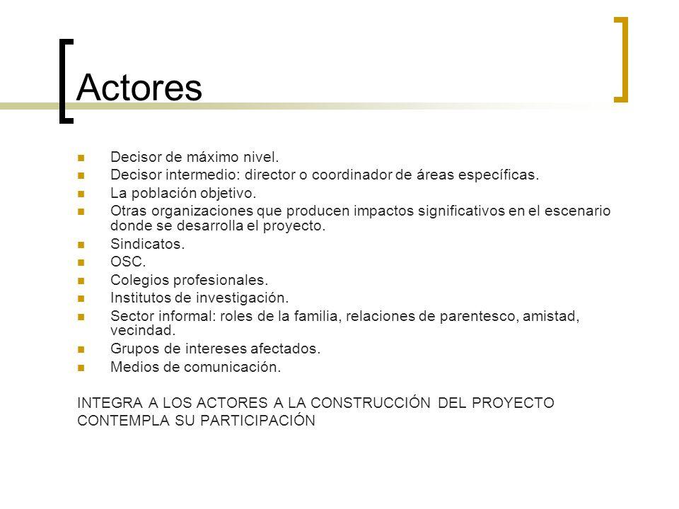 Actores Decisor de máximo nivel. Decisor intermedio: director o coordinador de áreas específicas. La población objetivo. Otras organizaciones que prod
