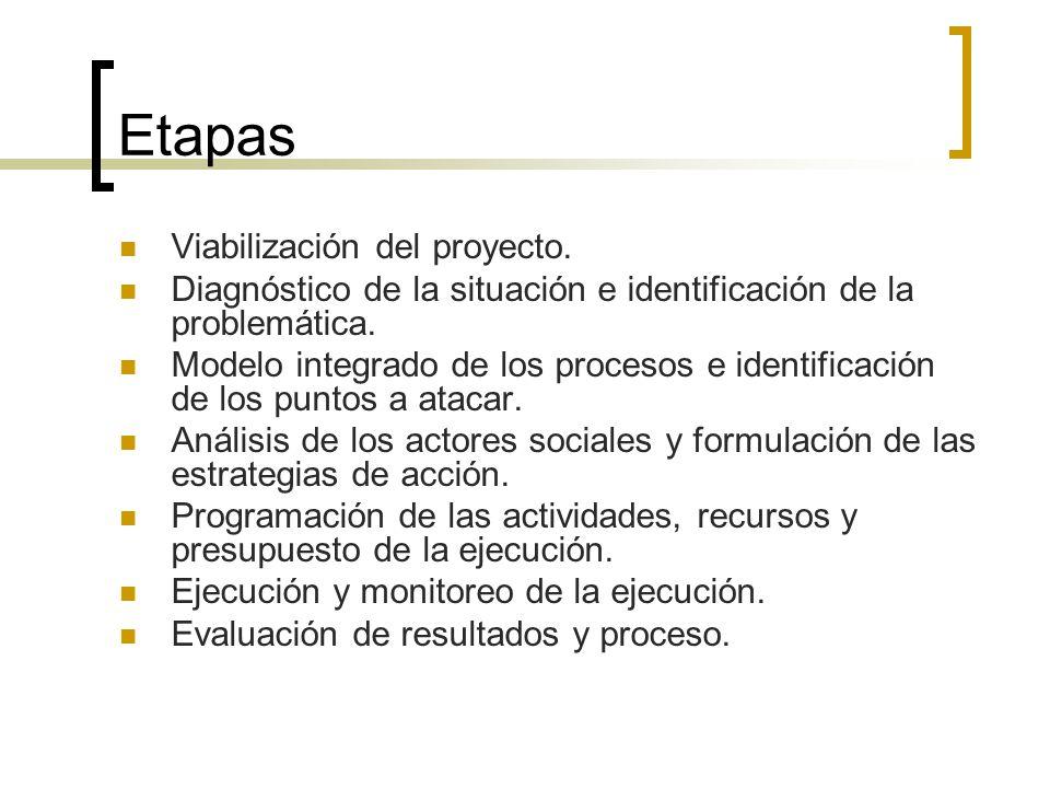 Etapas Viabilización del proyecto. Diagnóstico de la situación e identificación de la problemática. Modelo integrado de los procesos e identificación