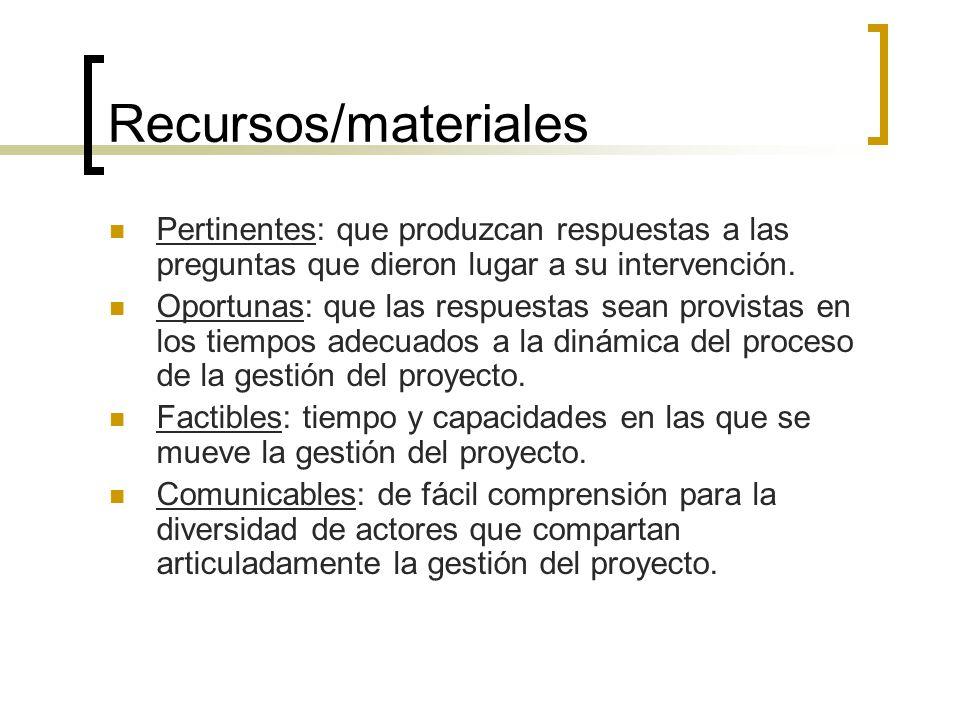Recursos/materiales Pertinentes: que produzcan respuestas a las preguntas que dieron lugar a su intervención. Oportunas: que las respuestas sean provi