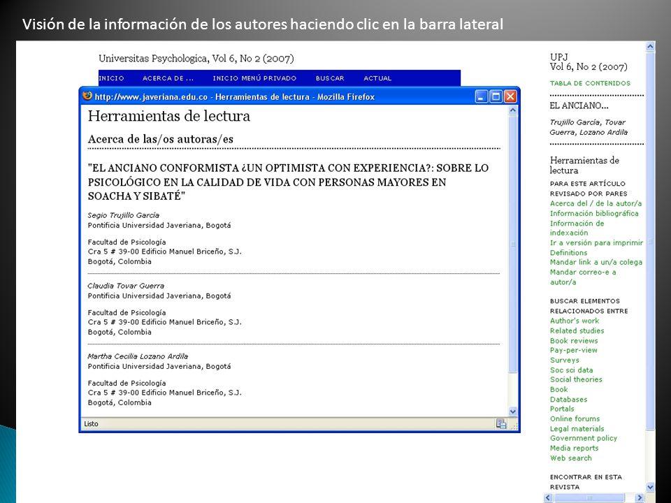 Visión de la información de los autores haciendo clic en la barra lateral