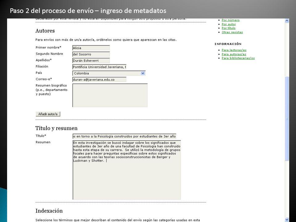 Paso 2 del proceso de envío – ingreso de metadatos