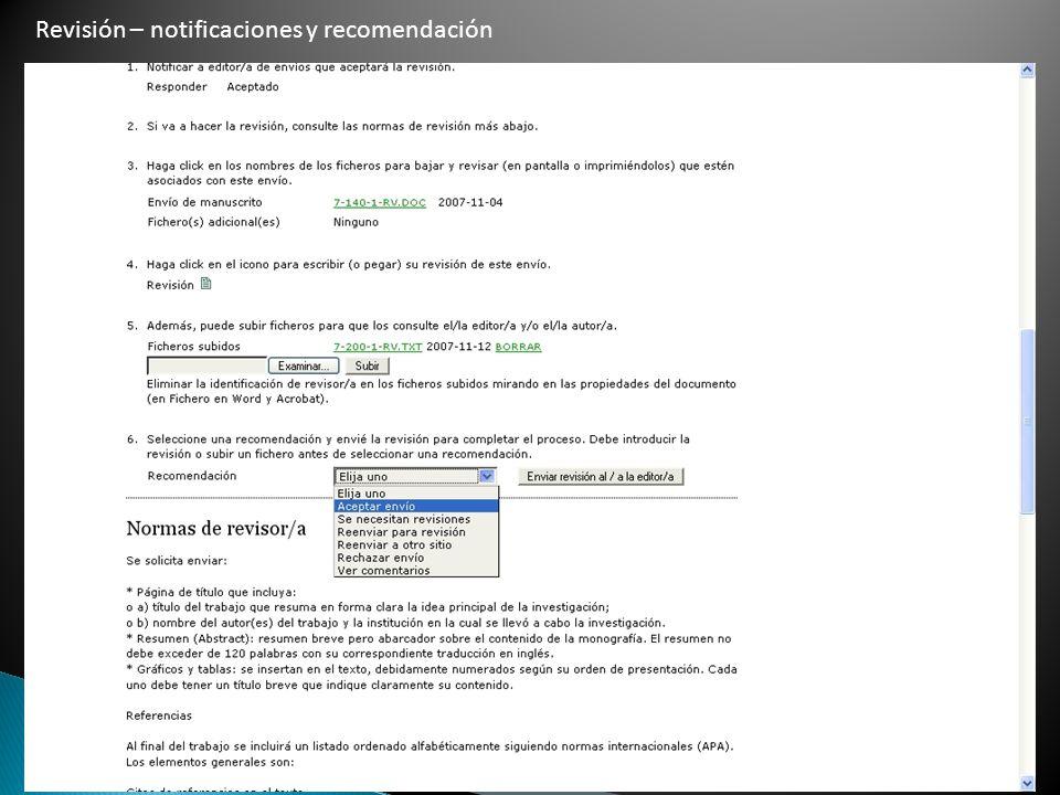 Revisión – notificaciones y recomendación