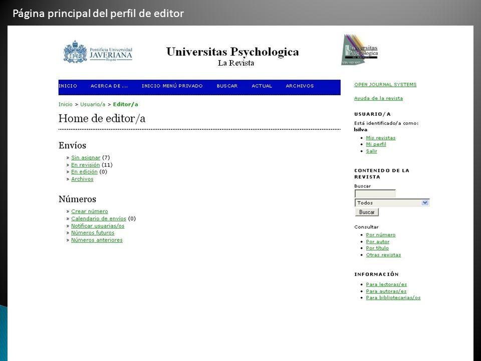 Página principal del perfil de editor