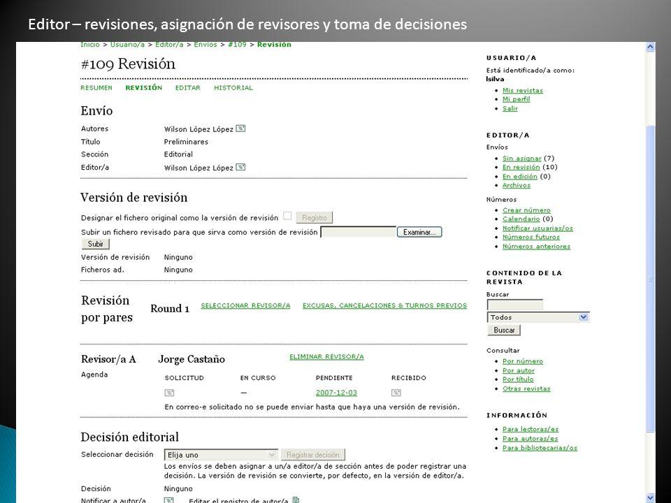 Editor – revisiones, asignación de revisores y toma de decisiones