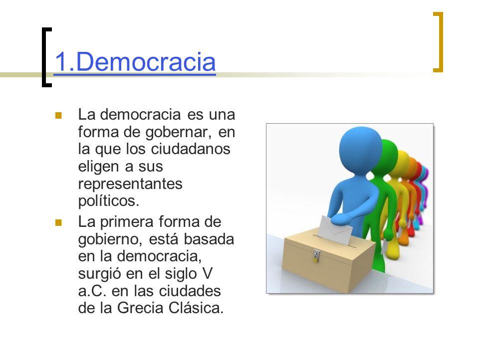 1.Democracia La democracia es una forma de gobernar, en la que los ciudadanos eligen a sus representantes políticos.