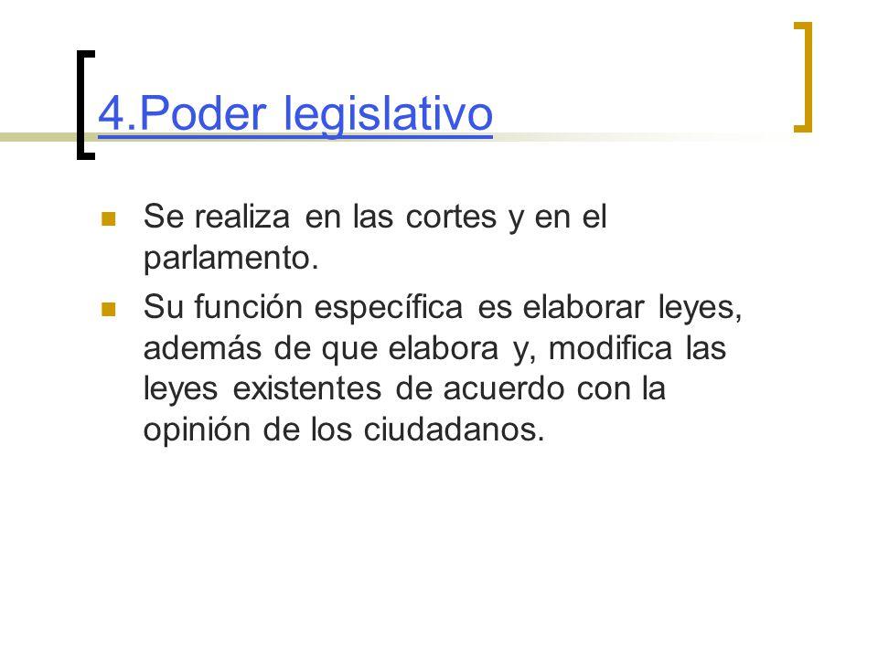 4.Poder legislativo Se realiza en las cortes y en el parlamento.