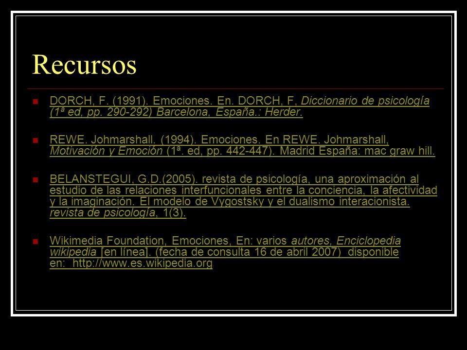 Recursos DORCH, F.(1991). Emociones. En. DORCH, F, Diccionario de psicología (1ª ed, pp.