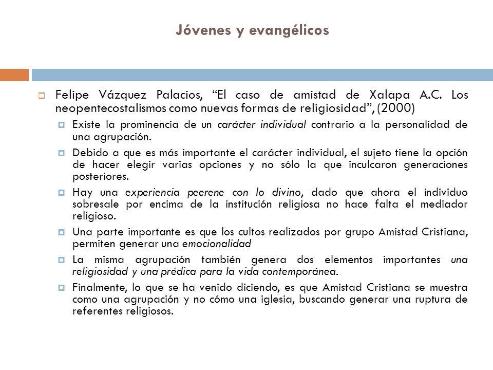 Jóvenes y evangélicos Felipe Vázquez Palacios, El caso de amistad de Xalapa A.C. Los neopentecostalismos como nuevas formas de religiosidad, (2000) Ex