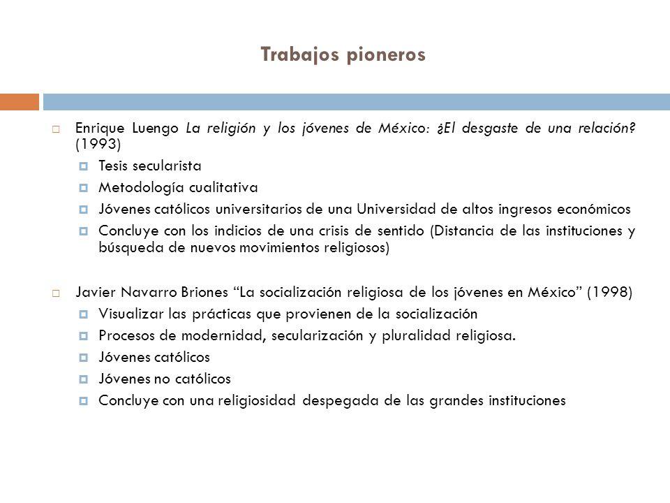 Trabajos pioneros Enrique Luengo La religión y los jóvenes de México: ¿El desgaste de una relación? (1993) Tesis secularista Metodología cualitativa J