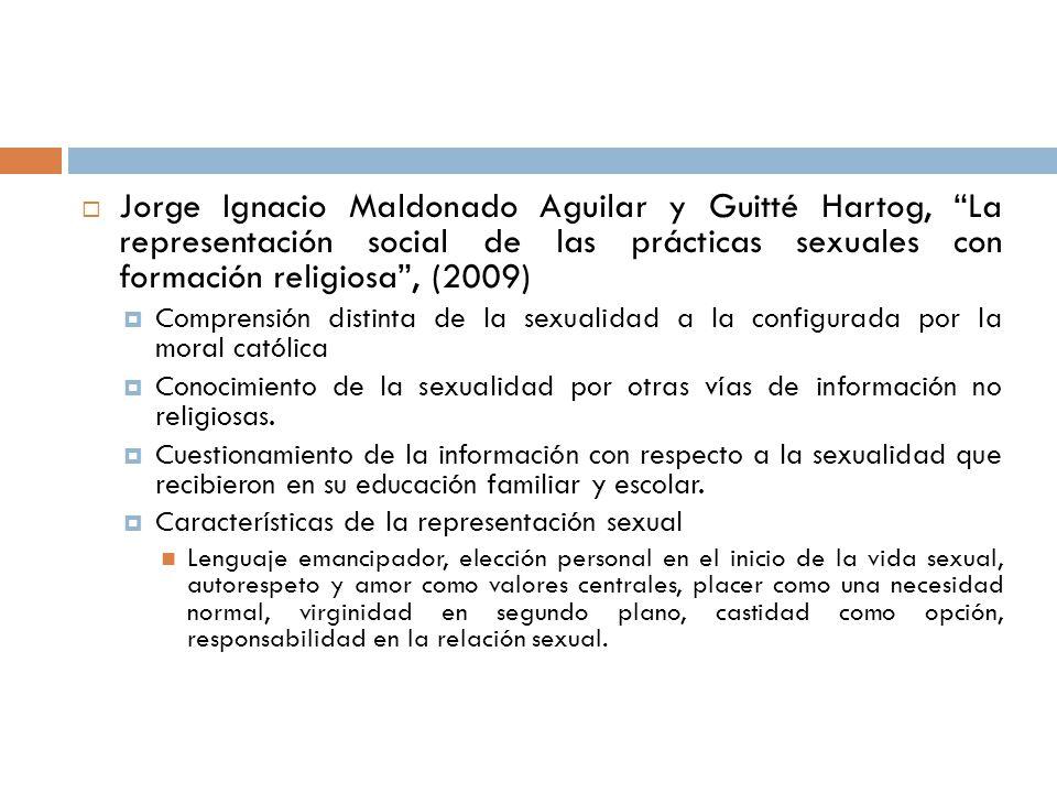 Jorge Ignacio Maldonado Aguilar y Guitté Hartog, La representación social de las prácticas sexuales con formación religiosa, (2009) Comprensión distin