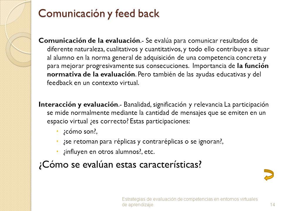 Comunicación y feed back Comunicación de la evaluación.- Se evalúa para comunicar resultados de diferente naturaleza, cualitativos y cuantitativos, y todo ello contribuye a situar al alumno en la norma general de adquisición de una competencia concreta y para mejorar progresivamente sus consecuciones.