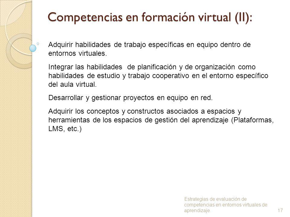 Competencias en formación virtual (II): Adquirir habilidades de trabajo específicas en equipo dentro de entornos virtuales.