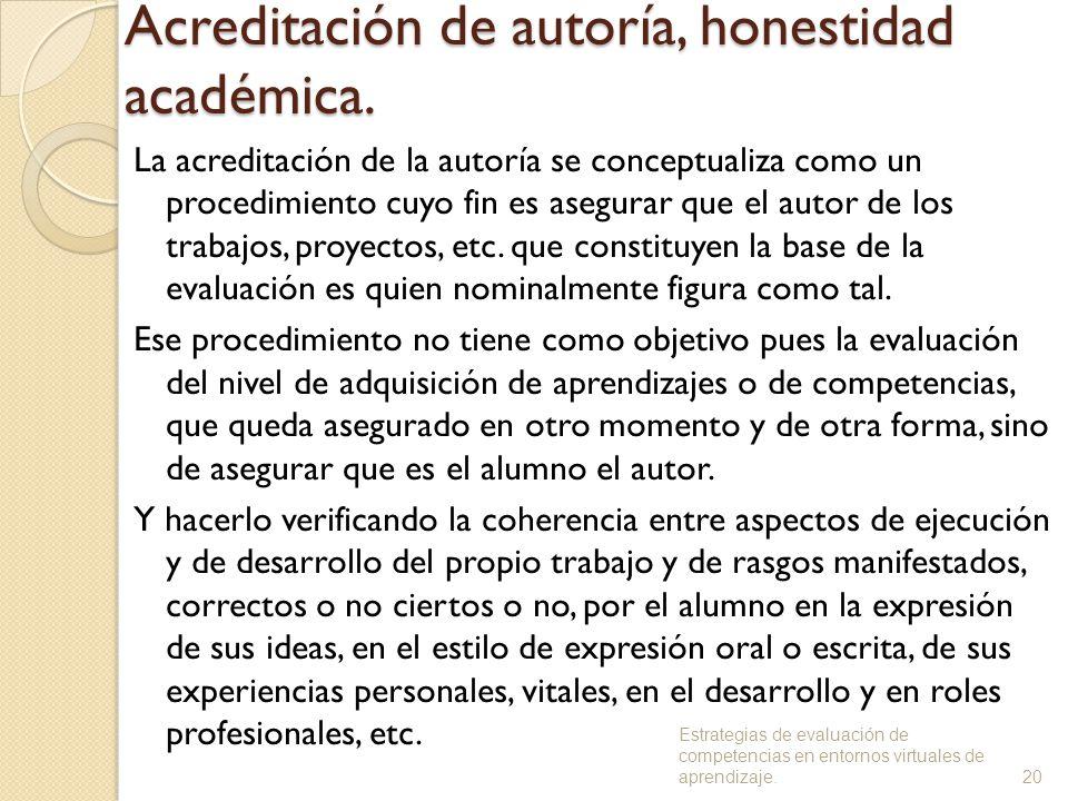 Acreditación de autoría, honestidad académica.