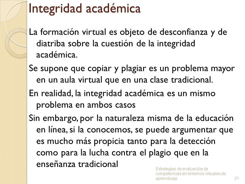 Integridad académica La formación virtual es objeto de desconfianza y de diatriba sobre la cuestión de la integridad académica.