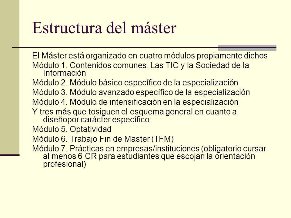Estructura del máster El Máster está organizado en cuatro módulos propiamente dichos Módulo 1.