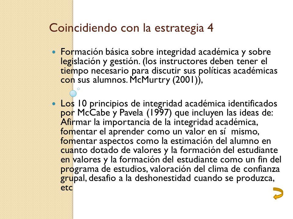 Coincidiendo con la estrategia 4 Formación básica sobre integridad académica y sobre legislación y gestión.