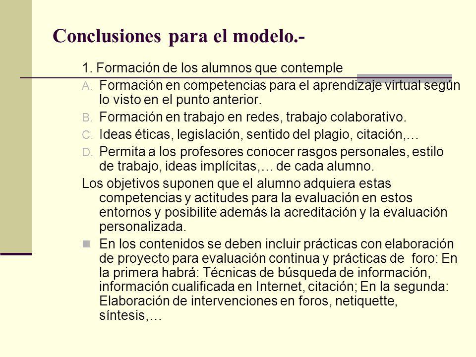 Conclusiones para el modelo.- 1.Formación de los alumnos que contemple A.