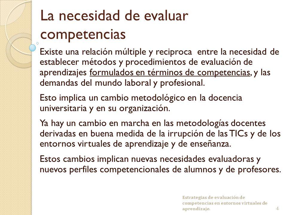 La necesidad de evaluar competencias Existe una relación múltiple y reciproca entre la necesidad de establecer métodos y procedimientos de evaluación de aprendizajes formulados en términos de competencias, y las demandas del mundo laboral y profesional.