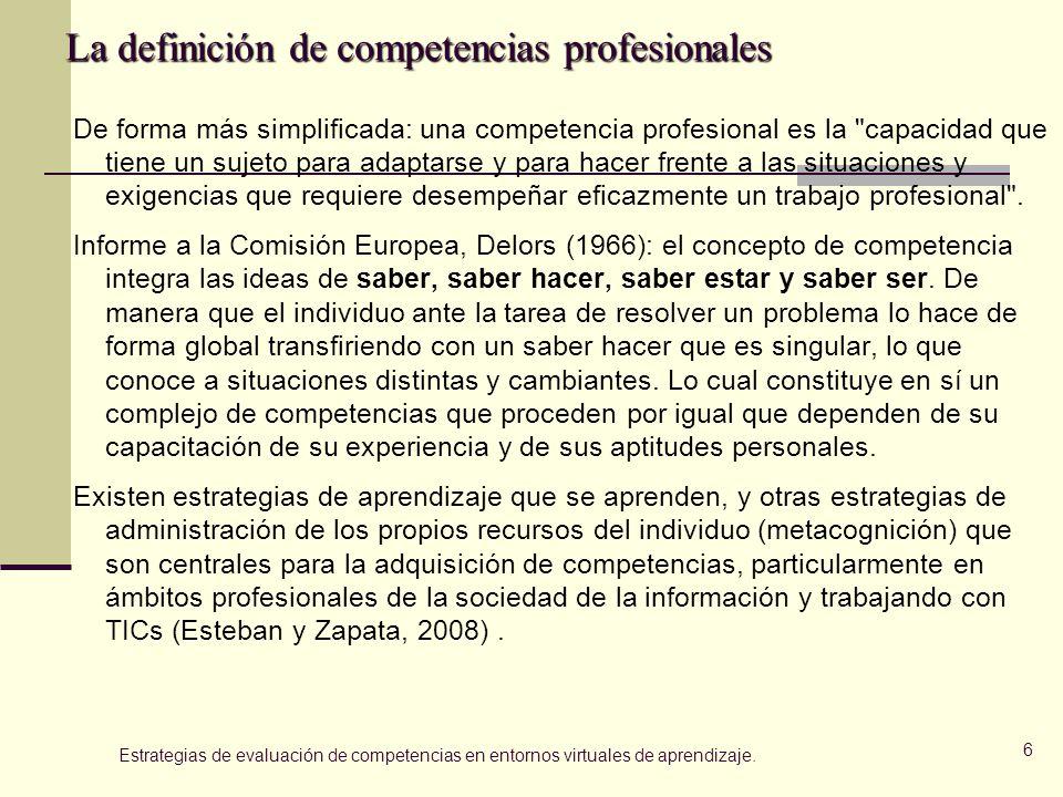La definición de competencias profesionales De forma más simplificada: una competencia profesional es la capacidad que tiene un sujeto para adaptarse y para hacer frente a las situaciones y exigencias que requiere desempeñar eficazmente un trabajo profesional .