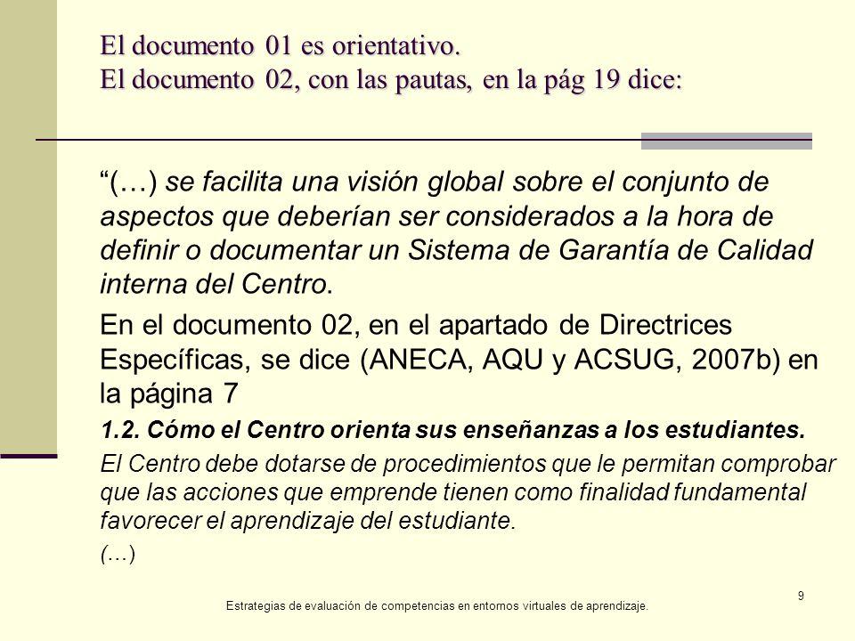 Documento 02, en el apartado de Directrices Específicas El Centro debe: 1.2.1.