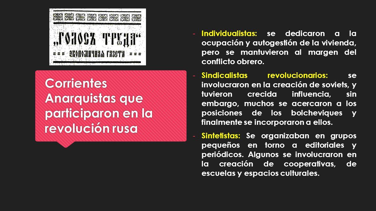 Corrientes Anarquistas que participaron en la revolución rusa - Individualistas: se dedicaron a la ocupación y autogestión de la vivienda, pero se man