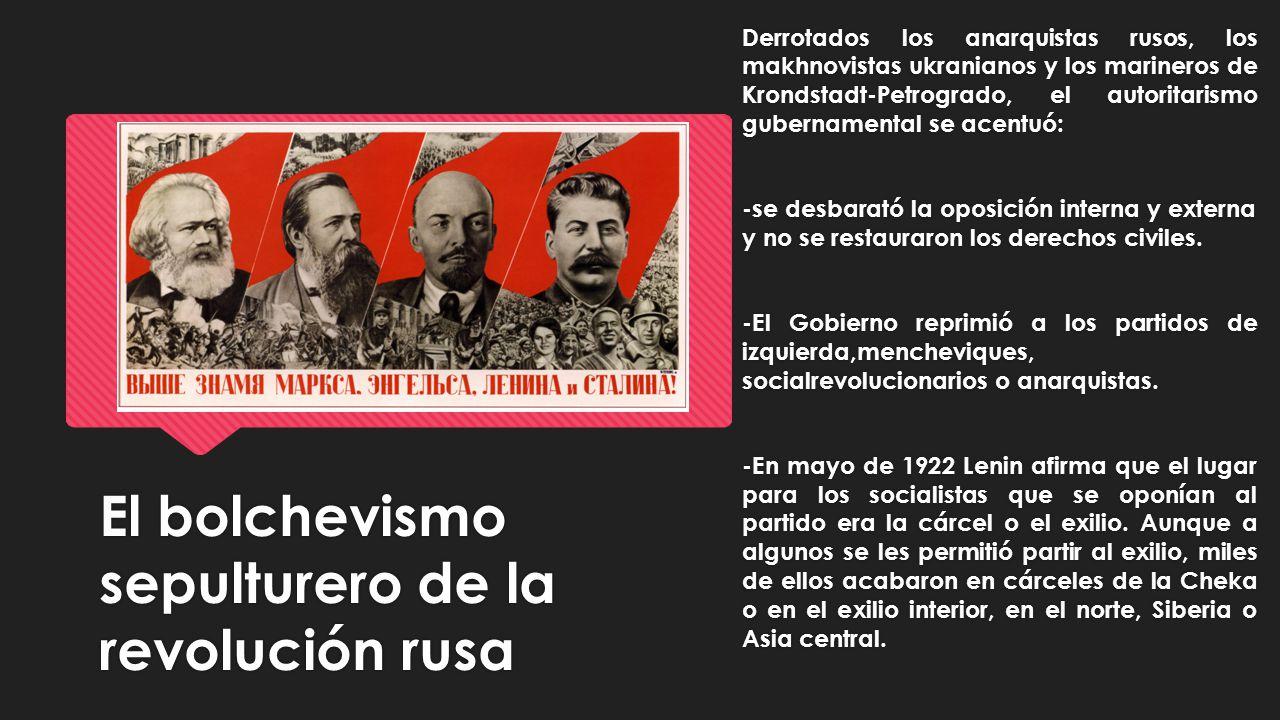 El bolchevismo sepulturero de la revolución rusa Derrotados los anarquistas rusos, los makhnovistas ukranianos y los marineros de Krondstadt-Petrograd
