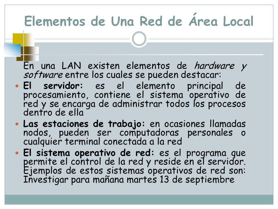 Elementos de Una Red de Área Local En una LAN existen elementos de hardware y software entre los cuales se pueden destacar: El servidor: es el element