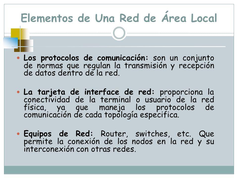Elementos de Una Red de Área Local Los protocolos de comunicación: son un conjunto de normas que regulan la transmisión y recepción de datos dentro de