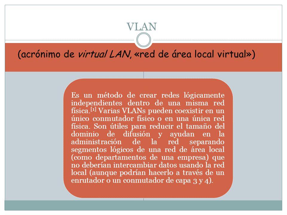 Es un método de crear redes lógicamente independientes dentro de una misma red física. [1] Varias VLANs pueden coexistir en un único conmutador físico