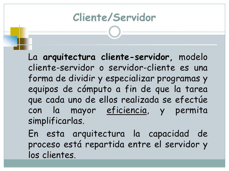 Cliente/Servidor La arquitectura cliente-servidor, modelo cliente-servidor o servidor-cliente es una forma de dividir y especializar programas y equip