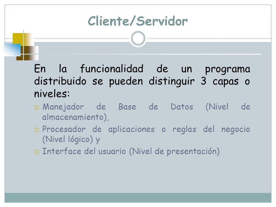 Cliente/Servidor En la funcionalidad de un programa distribuido se pueden distinguir 3 capas o niveles: Manejador de Base de Datos (Nivel de almacenam
