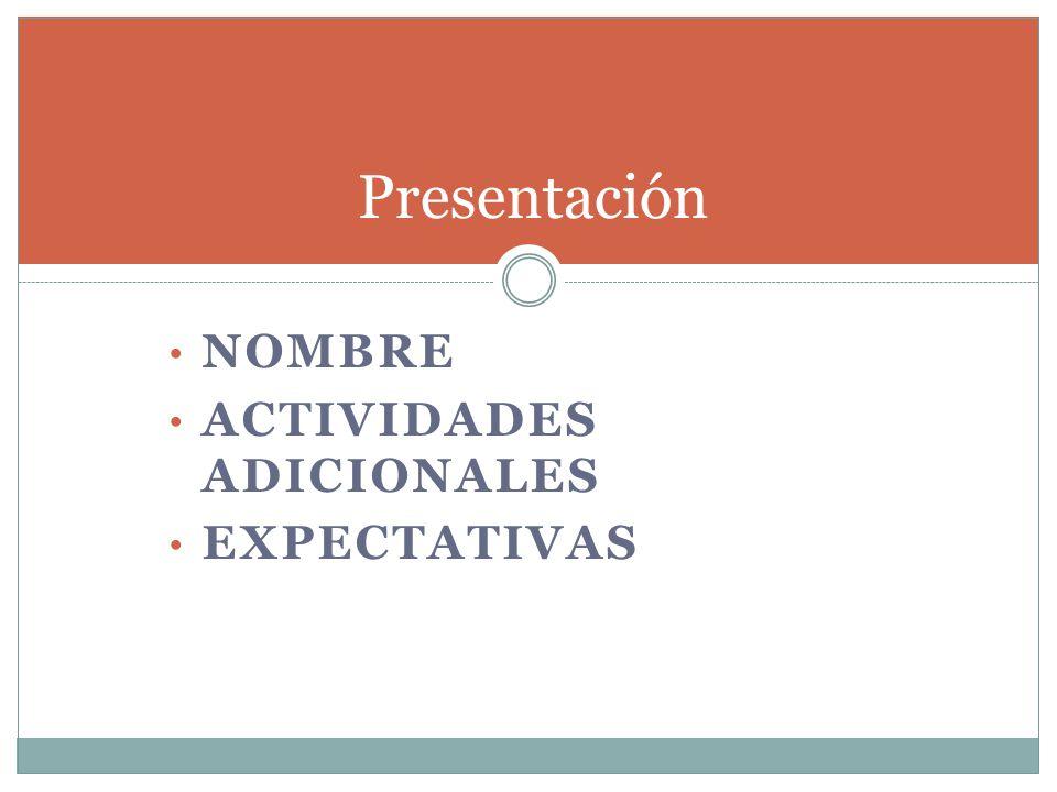 NOMBRE ACTIVIDADES ADICIONALES EXPECTATIVAS Presentación