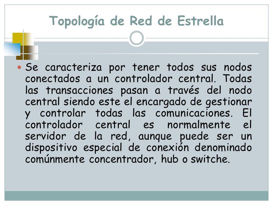 Topología de Red de Estrella Se caracteriza por tener todos sus nodos conectados a un controlador central. Todas las transacciones pasan a través del