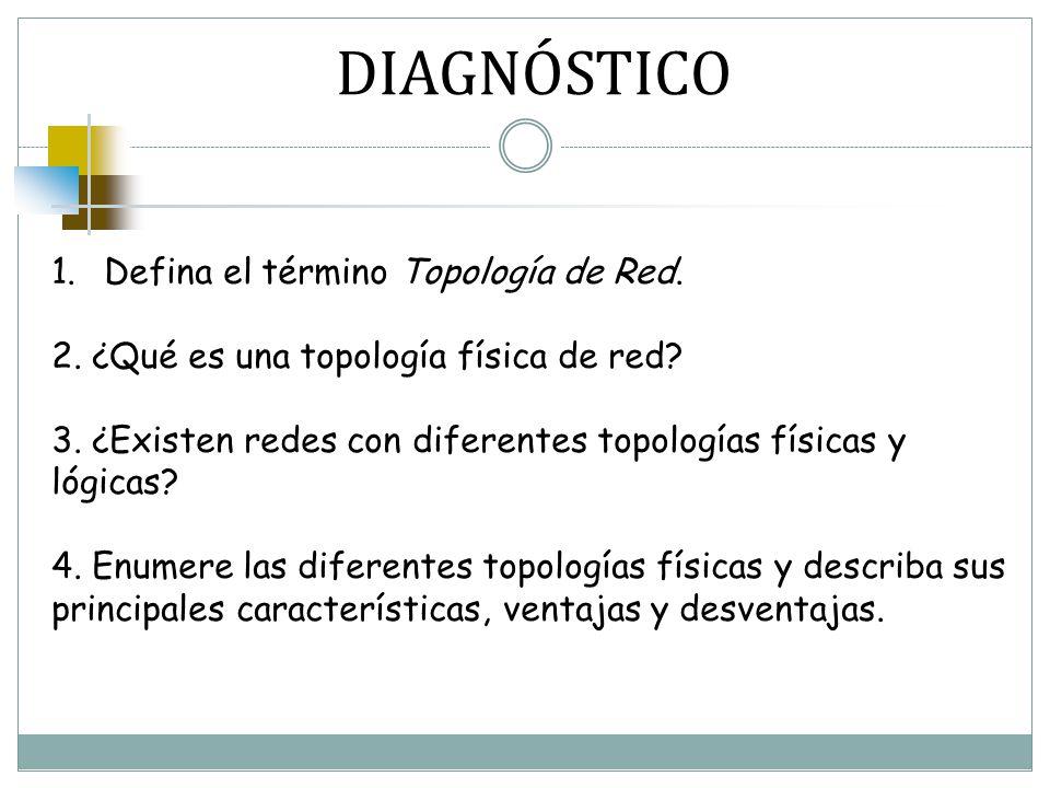 DIAGNÓSTICO 1.Defina el término Topología de Red. 2. ¿Qué es una topología física de red? 3. ¿Existen redes con diferentes topologías físicas y lógica