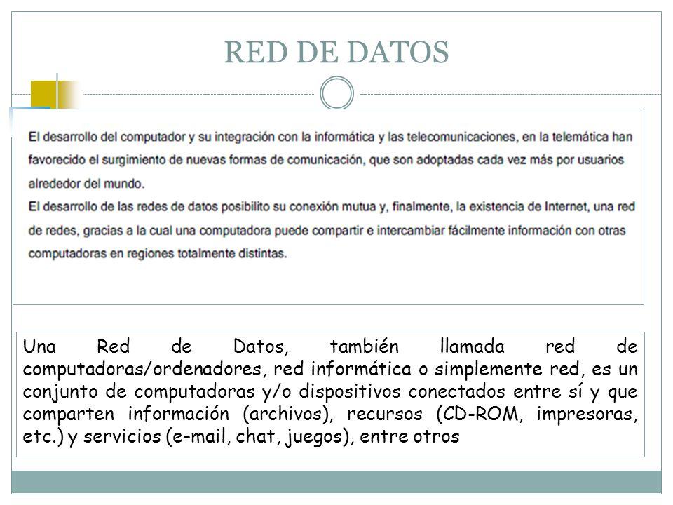 RED DE DATOS Una Red de Datos, también llamada red de computadoras/ordenadores, red informática o simplemente red, es un conjunto de computadoras y/o