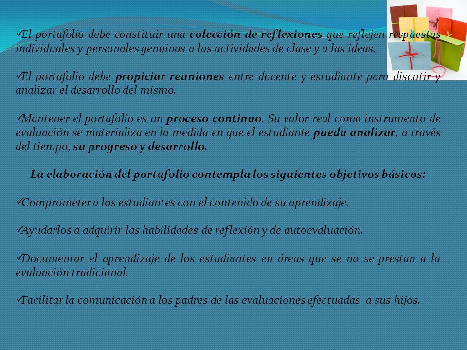 El portafolio debe constituir una colección de reflexiones que reflejen respuestas individuales y personales genuinas a las actividades de clase y a l
