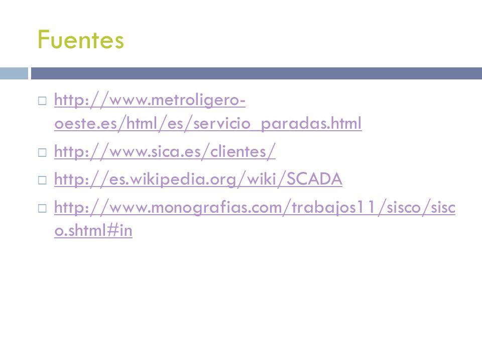 Fuentes http://www.metroligero- oeste.es/html/es/servicio_paradas.html http://www.metroligero- oeste.es/html/es/servicio_paradas.html http://www.sica.