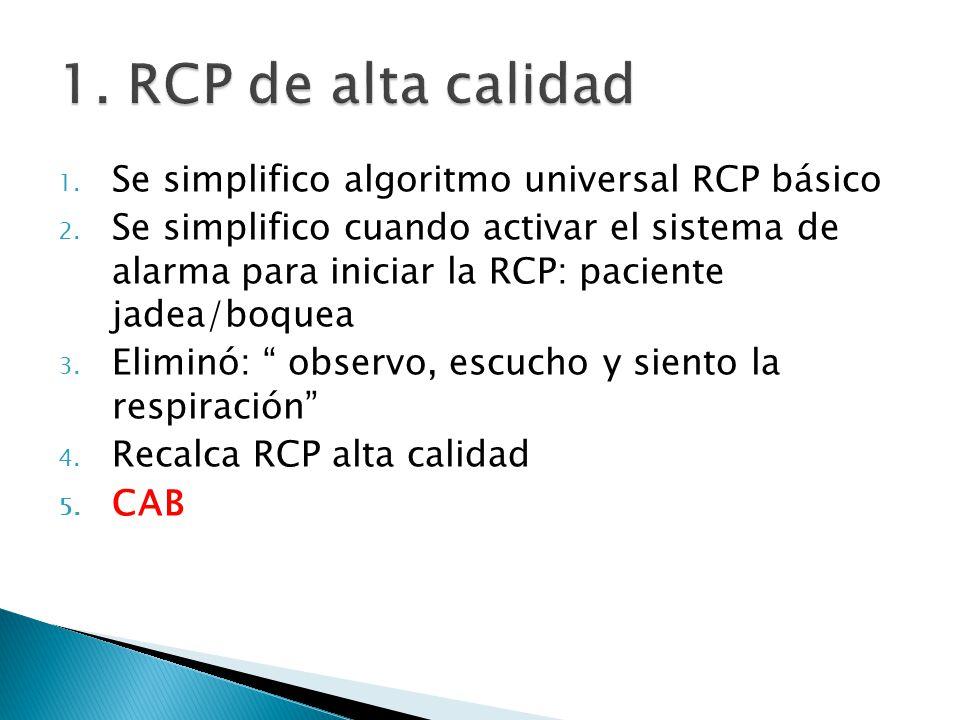 1. Se simplifico algoritmo universal RCP básico 2. Se simplifico cuando activar el sistema de alarma para iniciar la RCP: paciente jadea/boquea 3. Eli