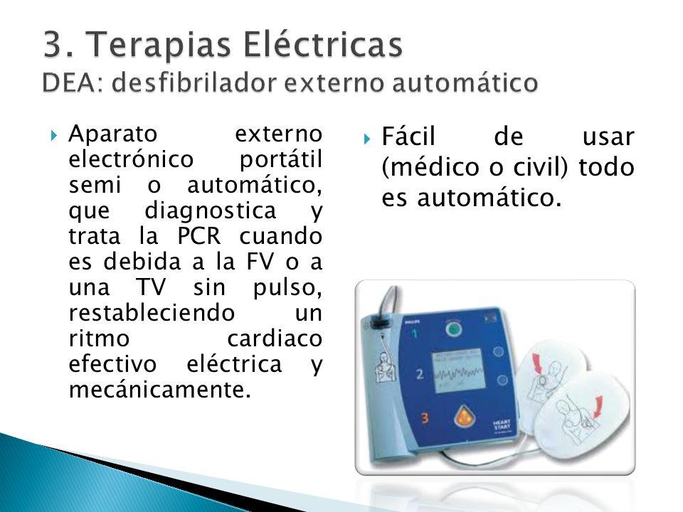 Aparato externo electrónico portátil semi o automático, que diagnostica y trata la PCR cuando es debida a la FV o a una TV sin pulso, restableciendo un ritmo cardiaco efectivo eléctrica y mecánicamente.