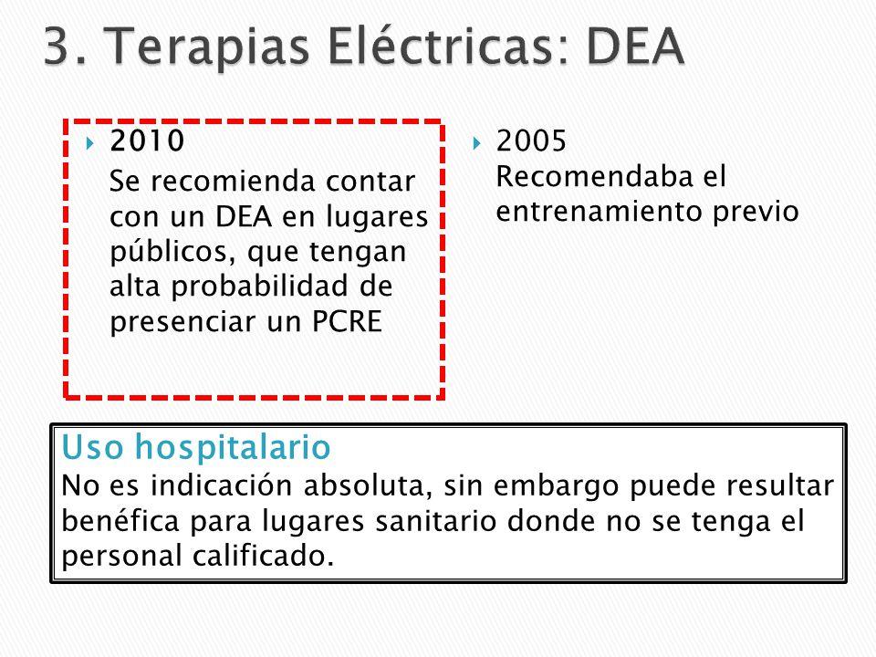 2010 Se recomienda contar con un DEA en lugares públicos, que tengan alta probabilidad de presenciar un PCRE 2005 Recomendaba el entrenamiento previo Uso hospitalario No es indicación absoluta, sin embargo puede resultar benéfica para lugares sanitario donde no se tenga el personal calificado.