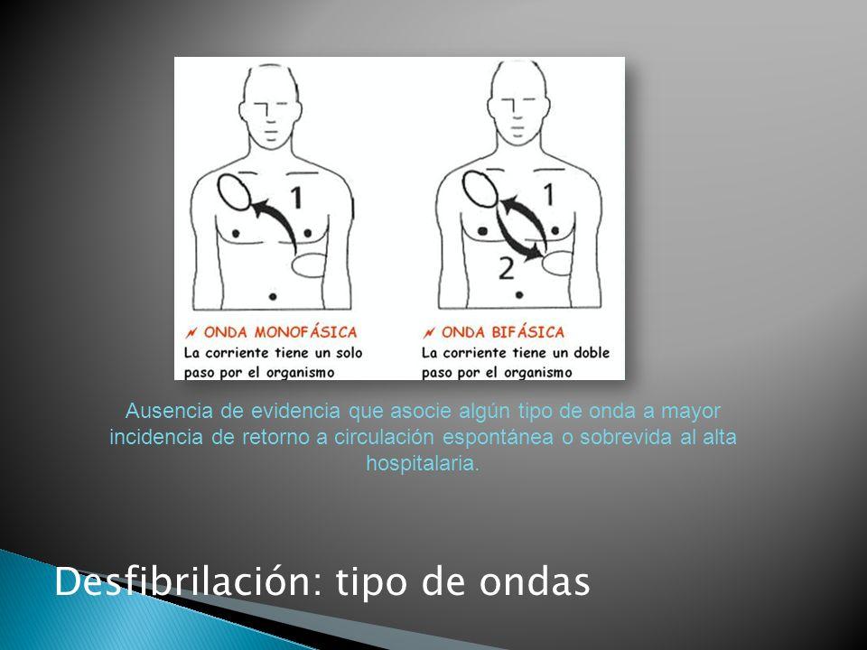 Desfibrilación: tipo de ondas Ausencia de evidencia que asocie algún tipo de onda a mayor incidencia de retorno a circulación espontánea o sobrevida al alta hospitalaria.